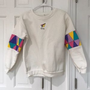 "Colorful & White ""flying"" sweater"
